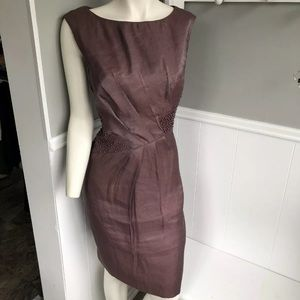 Adrianna Papell Dress 12 purple beaded ruched